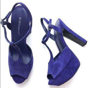 BCBG blue suede platform heels, size 7